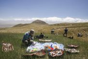 Picnic on nature trekking in Kyrgyzstan