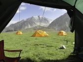 Beautiful view from the tent in trekking kyrgyzstan