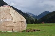 Yurt of nomads in the mountains of Kyrgyzstan