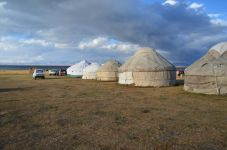 Yurt camp on the lake song kul